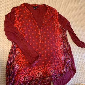 Lucky Brand Red Tunic Top